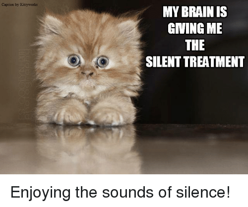 caption by my brain is giving me the silenttreatment enjoying 8680940 ✅ 25 best memes about sound of silence sound of silence memes,Silence Memes