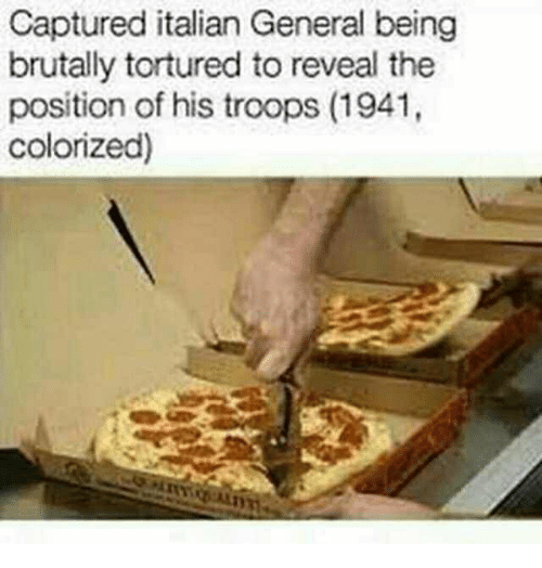 Italian, General, and Captured: Captured italian General being  brutally tortured to reveal the  position of his troops (1941,  colorized)