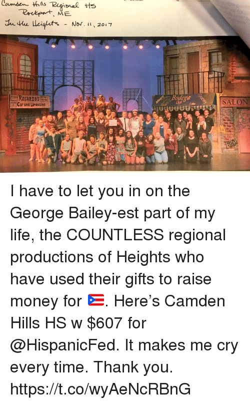 Life, Memes, and Money: Car and Limousine  Bodega  Delh  SALON I have to let you in on the George Bailey-est part of my life, the COUNTLESS regional productions of Heights who have used their gifts to raise money for 🇵🇷. Here's Camden Hills HS w $607 for @HispanicFed. It makes me cry every time.  Thank you. https://t.co/wyAeNcRBnG