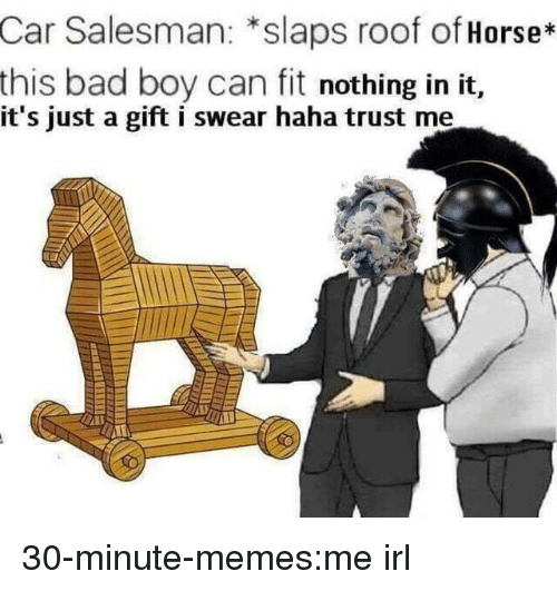 Bad, Memes, and Target: Car Salesman: *slaps roof of Horse*  this bad boy can fit nothing in it,  it's just a gift i swear haha trust me 30-minute-memes:me irl