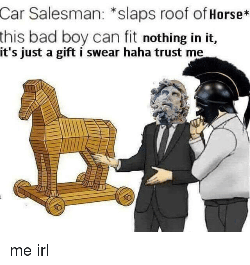 Bad, Horse, and Irl: Car Salesman: *slaps roof of Horse*  this bad boy can fit nothing in it,  it's just a gift i swear haha trust me me irl