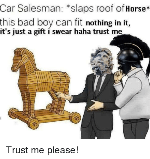 Bad, Horse, and Haha: Car Salesman: *slaps roof of Horse*  this bad boy can fit nothing in it,  it's just a gift i swear haha trust me Trust me please!