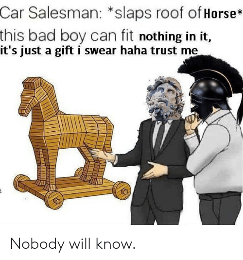 Bad, Horse, and Haha: Car  Salesman: *slaps roof of Horse*  this bad boy can fit nothing in it,  it's just a gift i swear haha trust me Nobody will know.