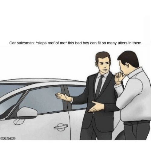 """Bad, Boy, and Car: Car salesman: """"slaps roof of me* this bad boy can fit so many alters in them"""