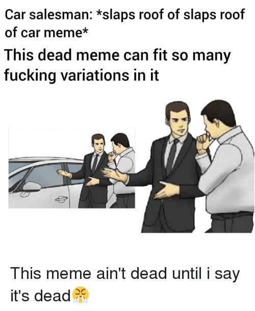 Car Salesman *Slaps Roof of Slaps Roof of Car Meme* This