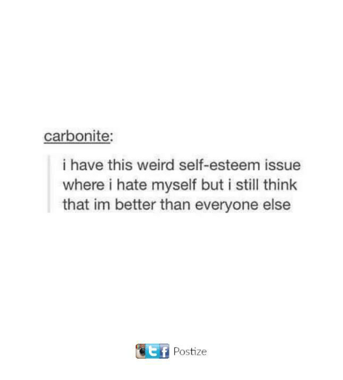 Dank, Weird, and 🤖: carbonite:  i have this weird self-esteem issue  where i hate myself but i still think  that im better than everyone else  KE f  Postize