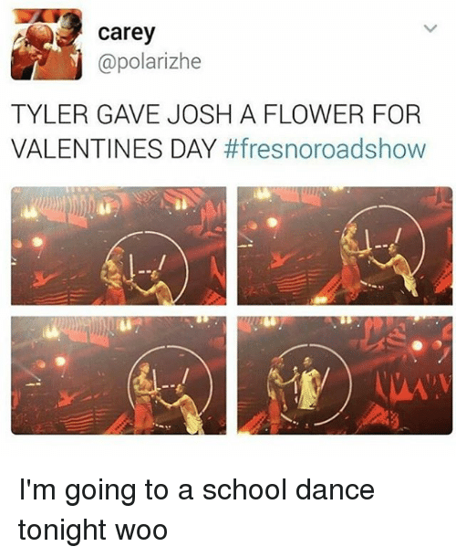Memes, School, and Valentine's Day: Carey  @polarizhe  TYLER GAVE JOSH A FLOWER FOR  VALENTINES DAY  I'm going to a school dance tonight woo