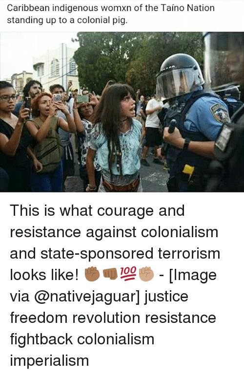 Memes, Image, and Justice: Caribbean indigenous womxn of the Taino Nation  standing up to a colonial pig. This is what courage and resistance against colonialism and state-sponsored terrorism looks like! ✊🏾👊🏾💯✊🏽 - [Image via @nativejaguar] justice freedom revolution resistance fightback colonialism imperialism