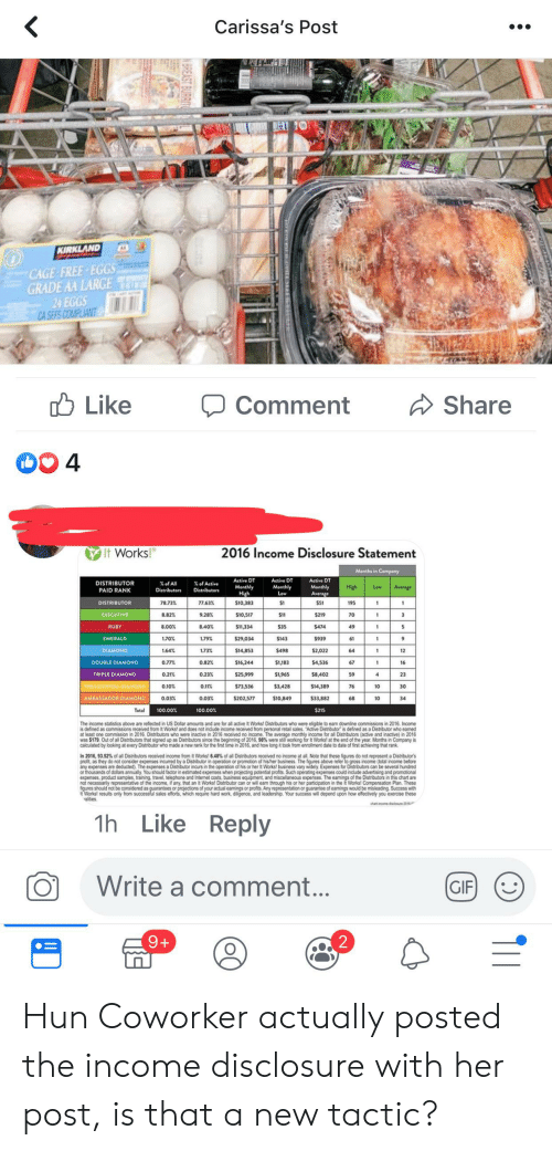 Gif, Work, and Business: Carissa's Post  KIRKLAND  CAGE FREE-EGGS  GRADE AA LARGE  24 EGGS  CA SEFS COMPLIANT  Like  Share  Comment  4  2016 Income Disclosure Statement  It Works!  Months in Company  Active DT  Active DT  Active DT  DISTRIBUTOR  PAID RANK  %of All  %of Active  Monthly  High  Monthly  Low  High  Average  Monthly  Low  Distributors  Distributors  Average  $10,383  S1  195  DISTRIBUTOR  78.73%  77.63%  1  EXECUTIVE  8.82%  9.28%  $10,517  $11  $219  70  3  1  RUBY  8.00 %  8.40%  $11,334  $35  $474  1  EMERALD  1.70%  1.79%  $29,034  S143  $939  $2,022  $498  DIAMOND  1.64%  1.73%  $14,853  64  12  0.77%  0.82%  $16,244  $1,183  $4,536  DOUBLE DIAMOND  16  TRIPLE DIAMOND  0.21%  0.23%  $25,999  S1,965  $8,402  23  PRESIDENTIAL DIAMOND  0.10%  0.11%  $73,536  $3,428  $14,389  30  $33,882  10  AMBASSADOR DIAMOND  0.03%  0.03%  $202,577  $10,849  34  Total  100.00%  100.00%  $215  The income statistics above are reflected in US Dollar amounts and are for all active It Works! Distributors who were eligible to eam downline commissions in 2016. Income  at least one commission in 2016. Distributors who were inactive in 2016 receved no income. The average monthly income for all Distrbutors (active and inactive) in 2016  was $179. Out of all Distributors that signed up as Distributors since the beginning of 2016, 98 % were still working for It Works! at the end of the year. Months in Company is  calculated by looking at every Distributor who made a new rank for the first time in 2016, and how long it took from enrolment date to date of first achieving that rank  In 2016, 93.52% of ll Distributors received income from It Works! 6.48% of all Distributors received no income at all. Note that these ligures do ot represent a Dis r  crofitas they do not consider expenses incurred by a Distributor in cperation or promotion of hisher business. The fau  any expenses are deducted). The expenses a Distributor incurs in the operation of his or her it Works! business vary widely Expenses for Distributors can be several hundred  or thousands of dollars annually. You should factor in estimated expenses when projecting potential profits. Such operating expenses could include advertising and promotional  a Distributor's  above tefer to gr  not necessariy reresentative of the incomed any that an & orks Distrbutr ca o ill eam through bis er e aciation in thei Workst Compensation Plan. These  figures should not be considered as guarantees or projections of your actual eamings or profits. Any representation or guarantee of eamings would be misleading. Success with  t Works! results only from successful sales efforts, which require hard work, diligence, and leadership. Your success will depend upon how effectively you exercise these  alities  chanomedacire 201  Reply  Like  1h  Write a comment...  GIF  2  9+  NBREAST BURRIT Hun Coworker actually posted the income disclosure with her post, is that a new tactic?