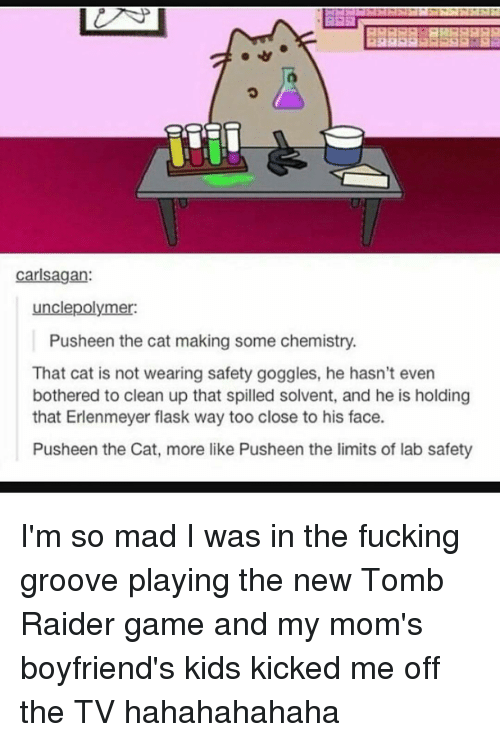 Memes, Raiders, and Carl Sagan: Carl Sagan:  unclepolymer:  Pusheen the cat making some chemistry.  That cat is not wearing safety goggles, he hasn't even  bothered to clean up that spilled solvent, and he is holding  that Erlenmeyer flask way too close to his face.  Pusheen the Cat, more like Pusheen the limits of lab safety I'm so mad I was in the fucking groove playing the new Tomb Raider game and my mom's boyfriend's kids kicked me off the TV hahahahahaha