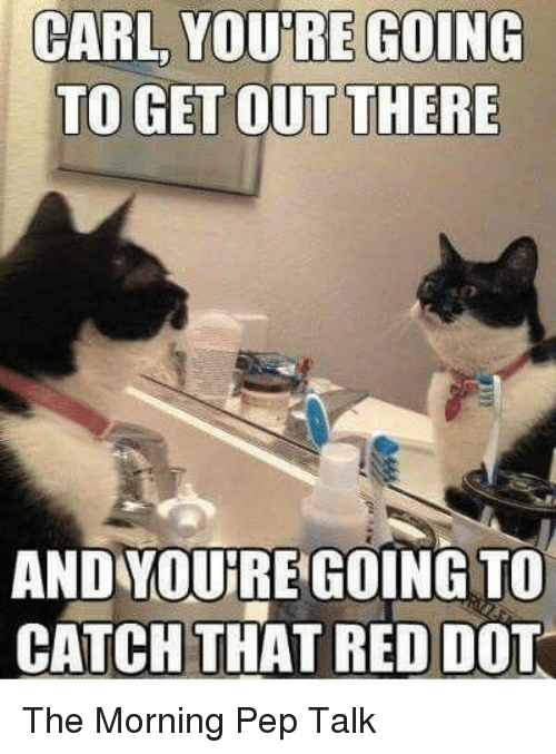 Red, Dot, and Pep: CARL YOU'RE GOING  TO GET OUT THERE  AND YOURE GOING TO  CATCH THAT RED DOT The Morning Pep Talk