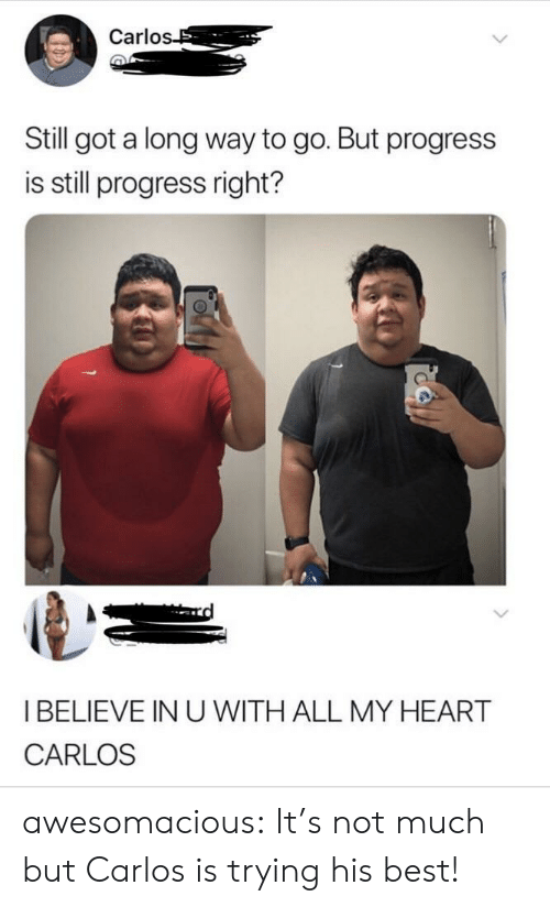 Tumblr, Best, and Blog: Carlo  Still got a long way to go. But progress  is still progress right?  I BELIEVE IN U WITH ALL MY HEART  CARLOS awesomacious:  It's not much but Carlos is trying his best!