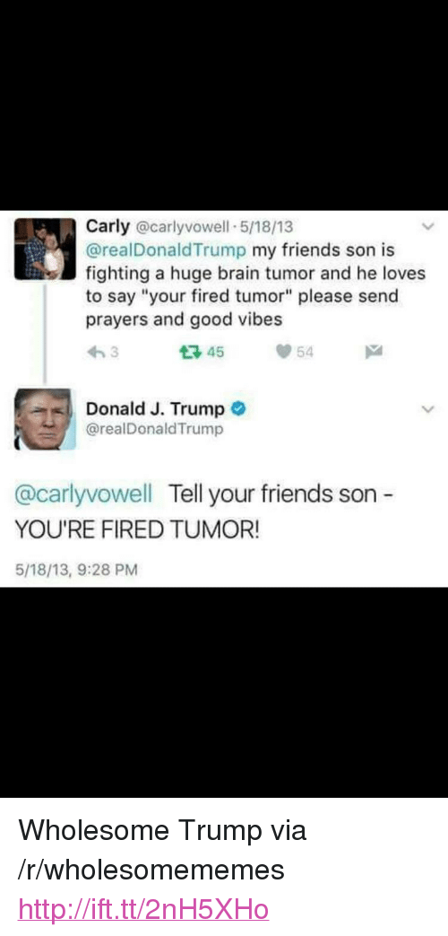 """Friends, Brain, and Good: Carly @carlyvowell 5/18/13  @realDonaldTrump my friends son is  fighting a huge brain tumor and he loves  to say """"your fired tumor"""" please send  prayers and good vibes  わ3  다45  54  Donald J. Trump o  @realDonaldTrump  @carlyvowell Tell your friends son -  YOU'RE FIRED TUMOR!  5/18/13, 9:28 PM <p>Wholesome Trump via /r/wholesomememes <a href=""""http://ift.tt/2nH5XHo"""">http://ift.tt/2nH5XHo</a></p>"""