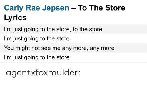 Carly Rae Jepsen, Target, and Tumblr: Carly Rae Jepsen - To The Store  Lyrics  I'm just going to the store, to the store  l'm just going to the store  You might not see me any more, any more  I'm just going to the store agentxfoxmulder: