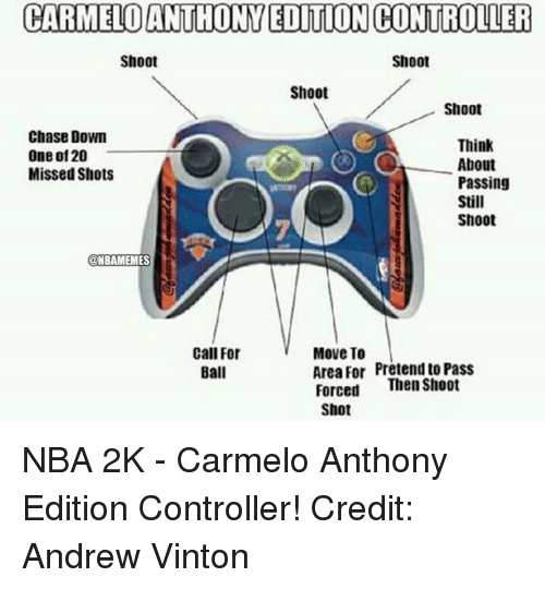Nba, Nba 2k, and Pretenders: CARMELO ANTHONY EDITION CONTROLLER  Shoot  Shoot  Shoot  Shoot  Chase Down  Think  One of 20  About  Missed Shots  Passing  O,O  Still  Shoot  @NBAMEMES  Call For  Move To  Area For Pretend to Pass  Ball  Forced  Then Shoot  Shot NBA 2K - Carmelo Anthony Edition Controller! Credit: Andrew Vinton