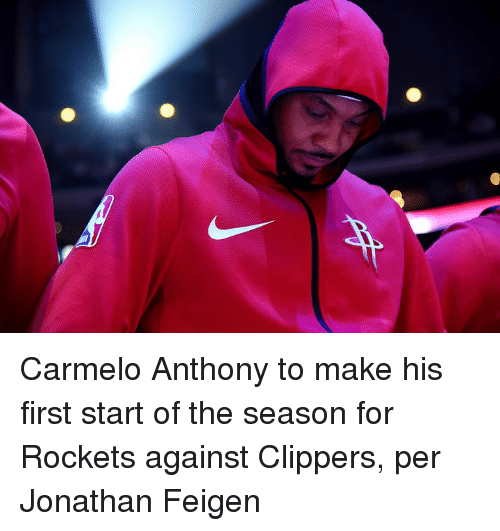 Carmelo Anthony, Clippers, and Rockets: Carmelo Anthony to make his first start of the season for Rockets against Clippers, per Jonathan Feigen