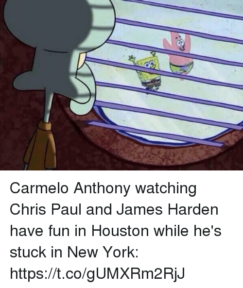 Carmelo Anthony, Chris Paul, and James Harden: Carmelo Anthony watching Chris Paul and James Harden have fun in Houston while he's stuck in New York: https://t.co/gUMXRm2RjJ