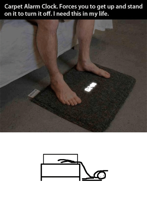 Clock, Life, and Alarm: Carpet Alarm Clock. Forces you to get up and stand  on it to turn it off. I need this in my life.