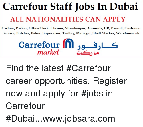 Carrefour Staff Jobs In Dubai All Nationalities Can Apply Cashier