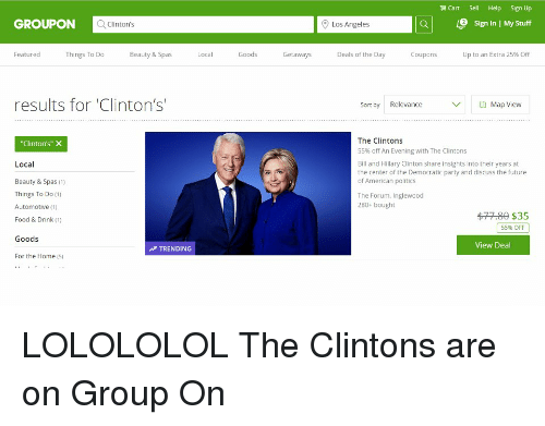 Cart Sell Help Sign Up GROUPON Q Clinton's Los Angeles E Sign in