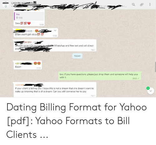 Yahoo dating format