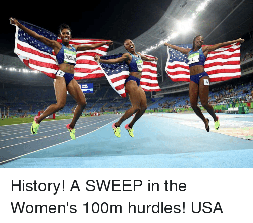 Sports, History, and Women: CAST  ASTI  ROLI History! A SWEEP in the Women's 100m hurdles! USA