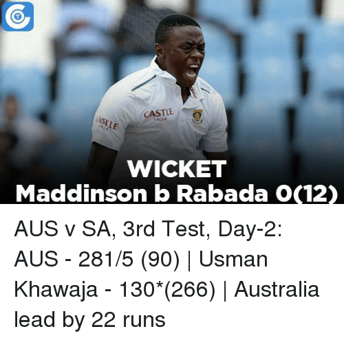 Memes, Australia, and 🤖: CASTLE  WICKET  Maddinson b Rabadan OC12) AUS v SA, 3rd Test, Day-2: AUS - 281/5 (90) | Usman Khawaja - 130*(266) | Australia lead by 22 runs