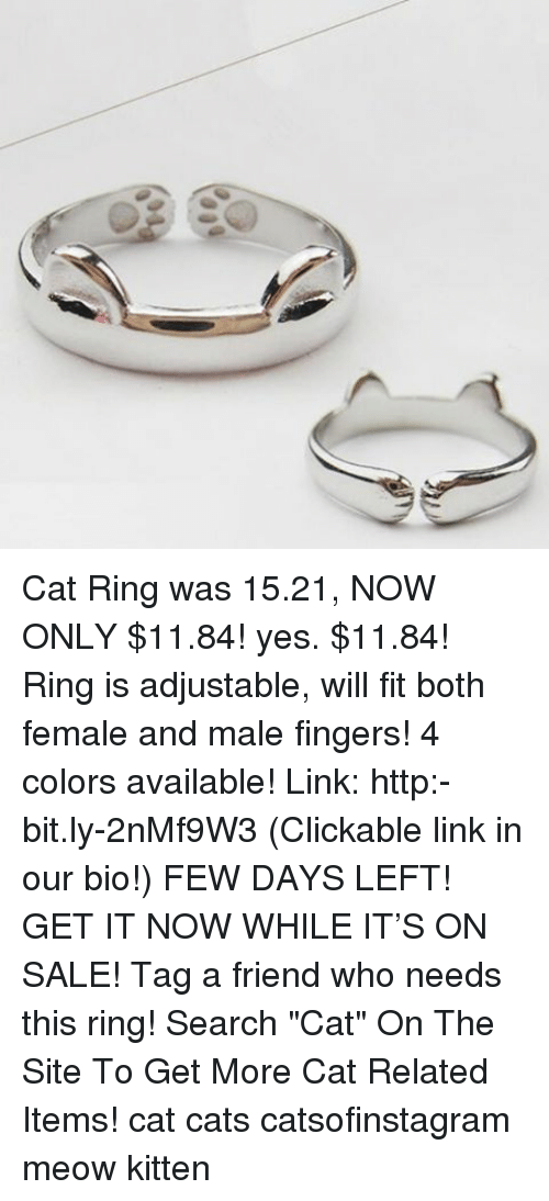 """Memes, 🤖, and Cat: Cat Ring was 15.21, NOW ONLY $11.84! yes. $11.84! Ring is adjustable, will fit both female and male fingers! 4 colors available! Link: http:-bit.ly-2nMf9W3 (Clickable link in our bio!) FEW DAYS LEFT! GET IT NOW WHILE IT'S ON SALE! Tag a friend who needs this ring! Search """"Cat"""" On The Site To Get More Cat Related Items! cat cats catsofinstagram meow kitten"""