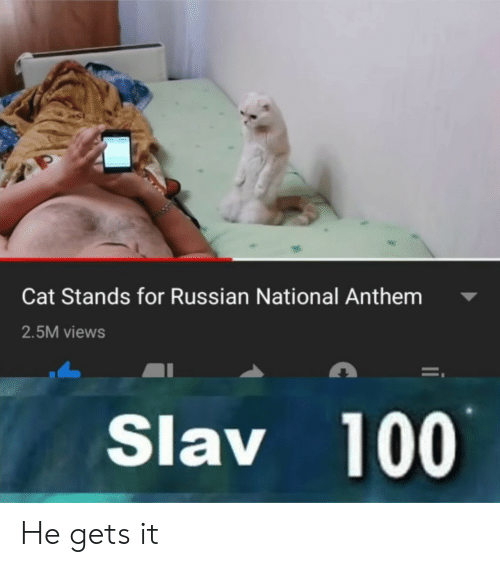 National Anthem, Russian, and Slav: Cat Stands for Russian National Anthem  2.5M views  Slav 100 He gets it