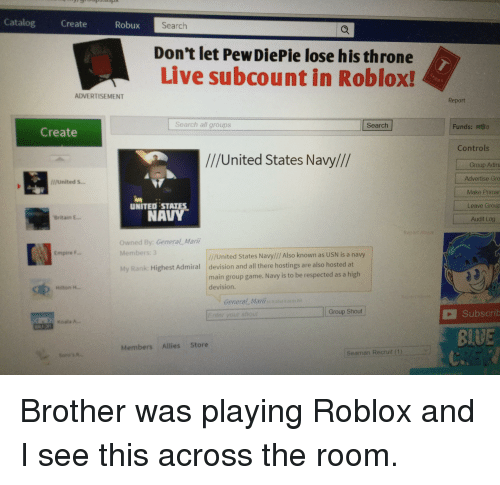 Catalog Create Robux Search Dont Let Pew Diepie Lose His - roblox create a group