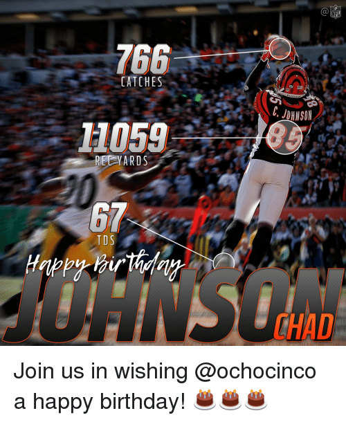 Memes, Happy Birthday, and 🤖: CATCHES  1105g  REEy ARDS  T DS  NHL  GU  THAD Join us in wishing @ochocinco a happy birthday! 🎂🎂🎂