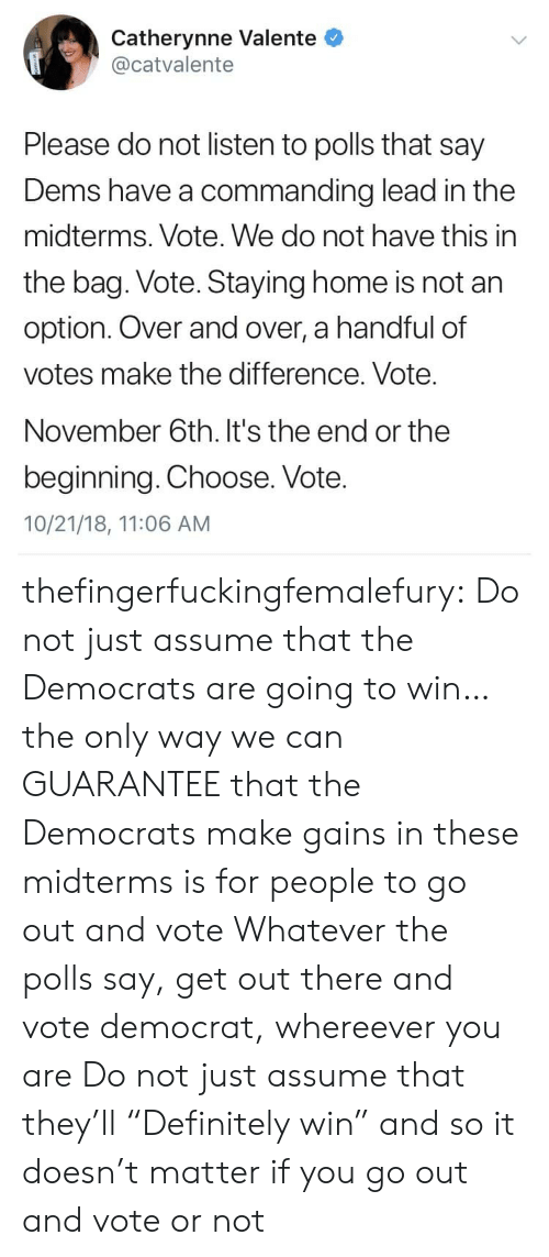 """Tumblr, Blog, and Home: Catherynne Valente  @catvalente  Please do not listen to polls that say  Dems have a commanding lead in the  midterms. Vote. We do not have this in  the bag. Vote. Staying home is not an  option. Over and over, a handful of  votes make the difference. Vote.  November 6th. It's the end or the  beginning. Choose. Vote.  10/21/18, 11:06 AM thefingerfuckingfemalefury:  Do not just assume that the Democrats are going to win…the only way we can GUARANTEE that the Democrats make gains in these midterms is for people to go out and vote Whatever the polls say, get out there and vote democrat, whereever you are  Do not just assume that they'll """"Definitely win"""" and so it doesn't matter if you go out and vote or not"""
