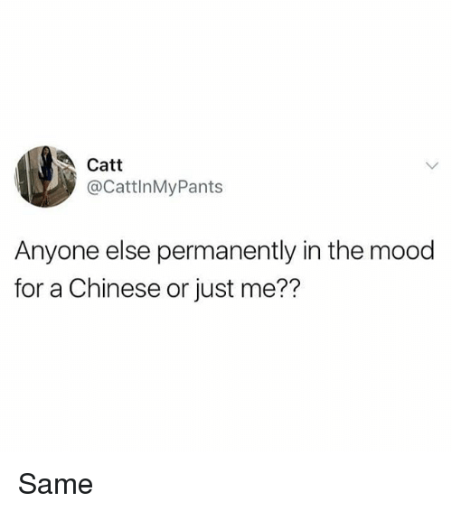 Memes, Mood, and Chinese: Catt  @CattlnMyPants  Anyone else permanently in the mood  for a Chinese or just me?? Same