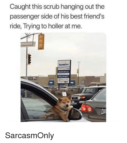 Friends, Funny, and Memes: Caught this scrub hanging out the  passenger side of his best friend's  ride, Trying to holler at me. SarcasmOnly