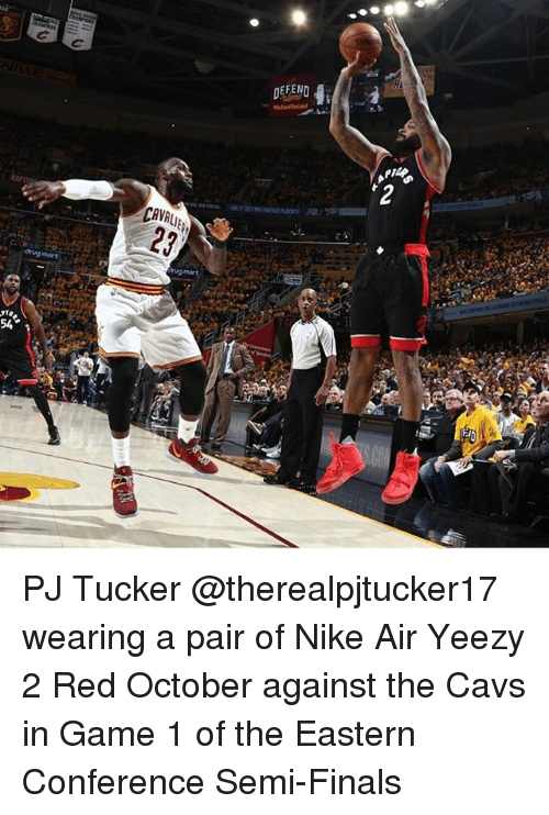 f95c8cfa70e960 CAVALIE DEFEND  2 PJ Tucker Wearing a Pair of Nike Air Yeezy 2 Red ...