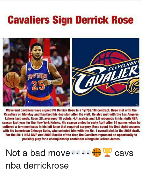 d0348336a Cavaliers Sign Derrick Rose CLEVEL AND 2 AUALIER Cleveland Cavaliers ...