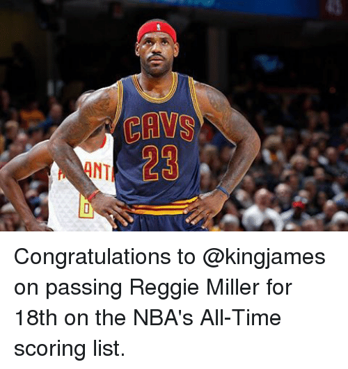 bd7b4e890f4 CAVS Congratulations to on Passing Reggie Miller for 18th on the ...