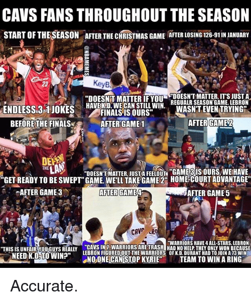 """Basketball, Cavs, and Christmas: CAVS FANS THROUGHOUT THE SEASON  START OFTHELSEASON ATER THE CHRISTMAS GAME ATER LOSING 126-91INJANUARY  KeyB  DOESNT MATTER, ITS JUST A  """"DOESNTT MATTER IF YOU  REGUALR SEASON GAME. LEBRON  HAVE KID WE CAN STILL WIN  ENDLESSL3-1 JOKES  WASNT EVEN TRYING  FINALS IS OURS""""  BEFORE THE FINALS  AFTER GAME 1  AFTER GAME 2  THE  """"DOESNTMATTER JUST FEELOUT """"GAME IS OURS. WEHAVE  """"GET READY TO BE SWEPT"""" GAME. WELL TAKE GAME 2 HOME COURT ADVANTAGE  AFTER GAME 3 AFTER GAME  AFTER GAME 5  CAVE  HWARRIORS HAVE 4 ALL-STARS. LEBRON  """"THIS IS UNFAIR YOU Guys REALLY CAMBINAMARRIORSAREHASHIHADINOHELPTHEd ONLYWONBECAUSE  LEBRONFIGUREDOUT THE WARRIORS OFK.D.DURANTHAD TOJOINA 13 WIN  NEED K.D TO WIN?""""  SNO ONE CANSTOPKYRIE  TEAM TO WIN A RING Accurate."""