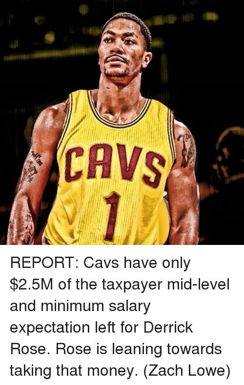 Cavs, Derrick Rose, and Memes: CAVS REPORT: Cavs have only $2.5M of the taxpayer mid-level and minimum salary expectation left for Derrick Rose. Rose is leaning towards taking that money. (Zach Lowe)