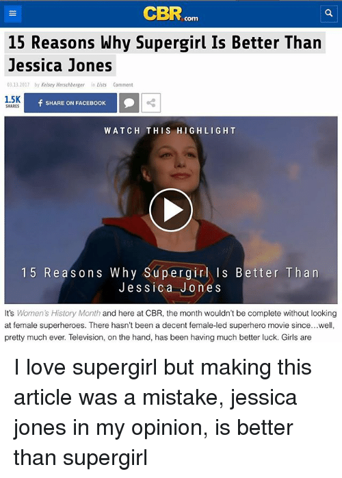 Cbr Com 15 Reasons Why Supergirl Is Better Than Jessica Jones