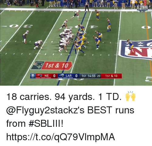 Memes, Cbs, and Best: CBS  1st & 10  NE 0 -Q LAR 0 1ST 14:55 20 1ST & 10 18 carries. 94 yards. 1 TD. 🙌  @Flyguy2stackz's BEST runs from #SBLIII! https://t.co/qQ79VlmpMA