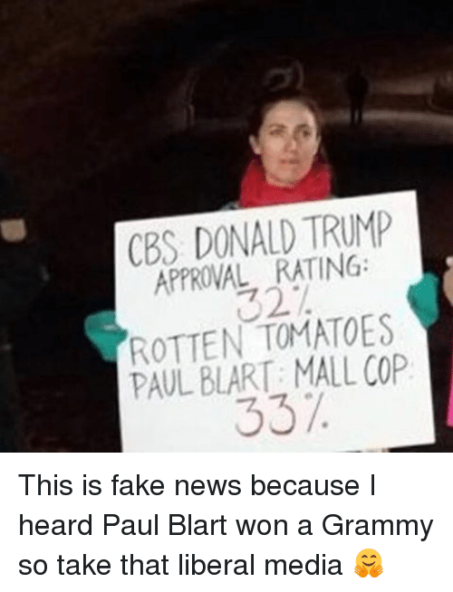 Funny, Grammys, and Cbs: CBS DONALD TRUMP  APPROVAL RATING:  ROTTEN TOMATOES  PAUL BLART: MALL COP  337. This is fake news because I heard Paul Blart won a Grammy so take that liberal media 🤗