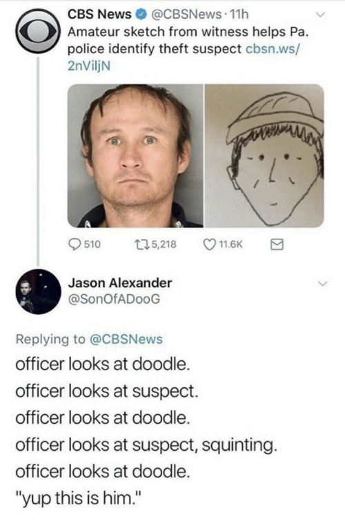 """Jason Alexander, News, and Police: CBS News@CBSNews.11h  Amateur sketch from witness helps Pa.  police identify theft suspect cbsn.ws/  2nViljN  9510 ロ5,218 11.6K a  Jason Alexander  @SonOfADooG  Replying to @CBSNews  officer looks at doodle.  officer looks at suspect.  officer looks at doodle.  officer looks at suspect, squinting.  officer looks at doodle.  """"yup this is him."""""""