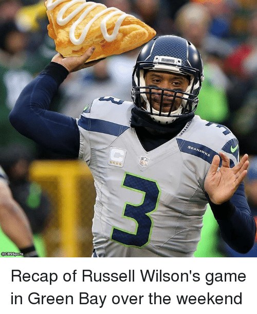 Nfl, Russell Wilson, and Sports: CBS Sports  SEAHAWKS  SEAHAWKS Recap of Russell Wilson's game in Green Bay over the weekend
