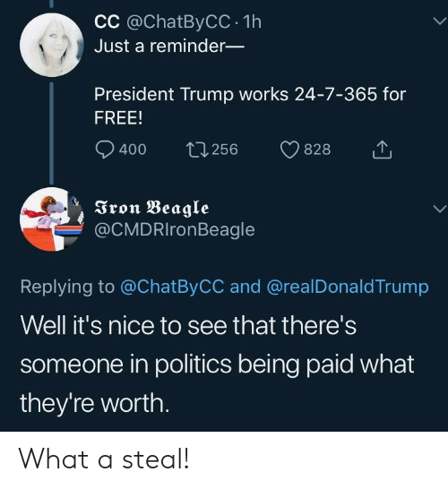 Politics, Free, and Trump: CC @ChatByCC 1h  Just a reminder_  President Trump works 24-7-365 for  FREE!  400 t256 828  Tron Beagle  @CMDRIronBeagle  Replying to @ChatByCC and @realDonaldTrump  Well it's nice to see that there's  someone in politics being paid what  they're worth What a steal!