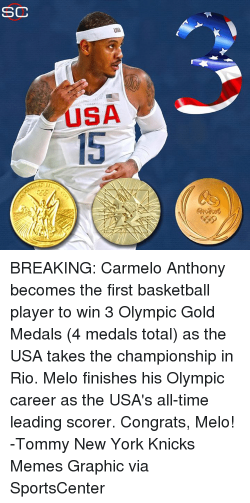 Basketball, Carmelo Anthony, and Crying: CC  USA  USA  cri  fe 2016 BREAKING: Carmelo Anthony becomes the first basketball player to win 3 Olympic Gold Medals (4 medals total) as the USA takes the championship in Rio. Melo finishes his Olympic career as the USA's all-time leading scorer. Congrats, Melo! -Tommy  New York Knicks Memes Graphic via SportsCenter
