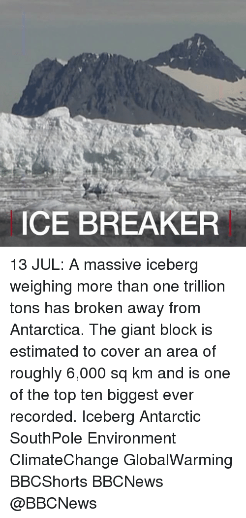 Memes, Giant, and Antarctica: CE BREAKER 13 JUL: A massive iceberg weighing more than one trillion tons has broken away from Antarctica. The giant block is estimated to cover an area of roughly 6,000 sq km and is one of the top ten biggest ever recorded. Iceberg Antarctic SouthPole Environment ClimateChange GlobalWarming BBCShorts BBCNews @BBCNews