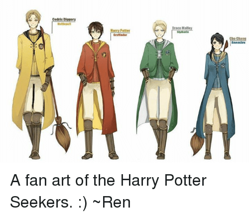 Memes, Change, and Arts: Cedric Diggory  Draco Malfoy  Harry Potter  Shitherla  cnnnndor  Cho Chang  Ravenclaw A fan art of the Harry Potter Seekers. :) ~Ren