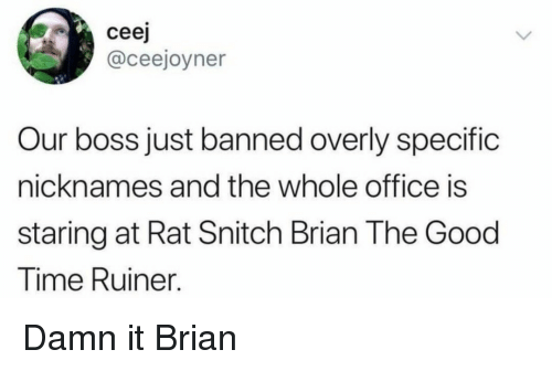 Snitch, Good, and Office: ceej  @ceejoyner  Our boss just banned overly specific  nicknames and the whole office is  staring at Rat Snitch Brian The Good  Time Ruiner. Damn it Brian