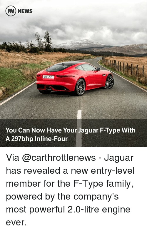 Family, Memes, and News: CEH NEWS  UBF 255  You Can Now Have Your Jaguar F-Type With  A 297bhp Inline-Four Via @carthrottlenews - Jaguar has revealed a new entry-level member for the F-Type family, powered by the company's most powerful 2.0-litre engine ever.